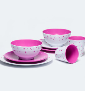 Barel melamine magenta blue stars dinner set